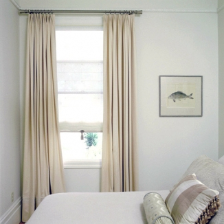 Roman shade with blackout curtains