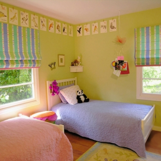 childs bedroom roman shades