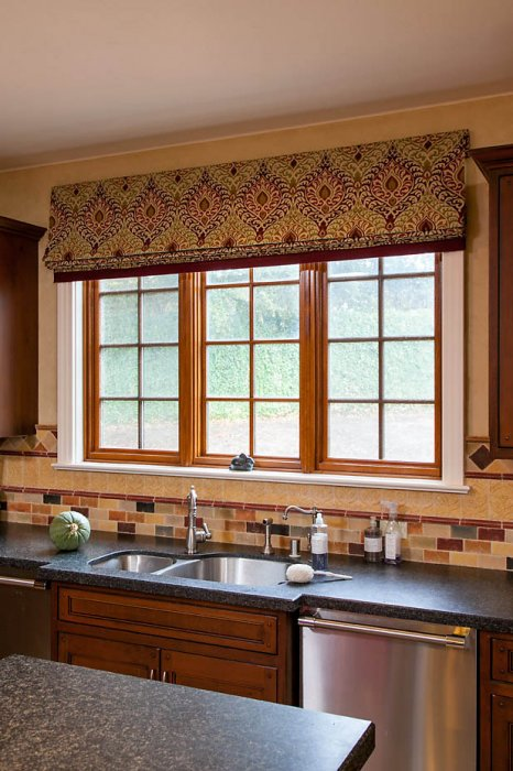 Kitchen bathroom window treatments stitch sf for Roman shades for wide windows
