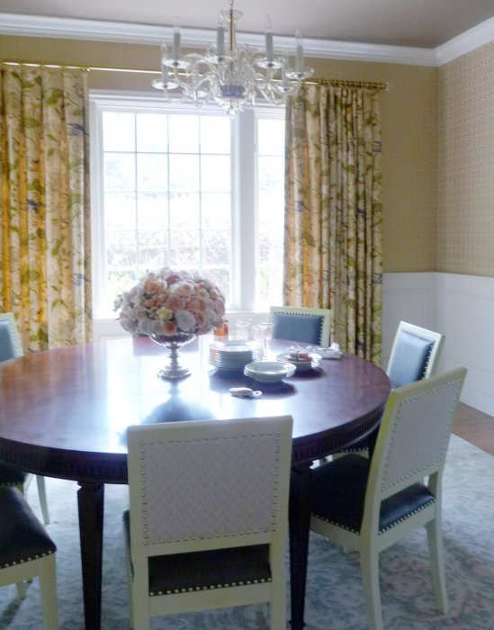 A Traditional Print In Muted Colors Provide Soft Backdrop This Elegant Dining Room Gold Toned Rod And Rings Glass Finials Reflect The
