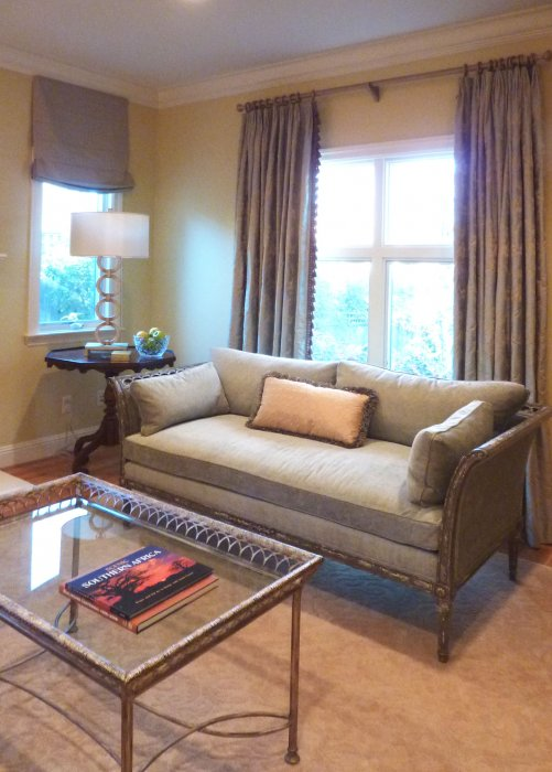 living room with custom curtains