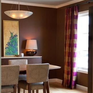 Custom Silk Drapery in dining room