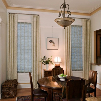 custom curtain and roman shade