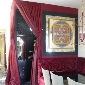 custom bar curtain banded slipcovered dining chairs