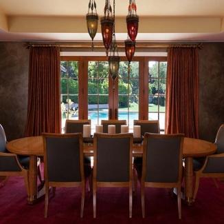 moorish inspired dining room curtains with custom hardware