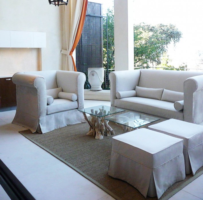 Custom Slipcover using indoor outdoor fabric