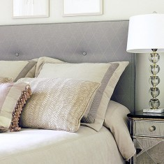Headboard upholstered and custom pillows