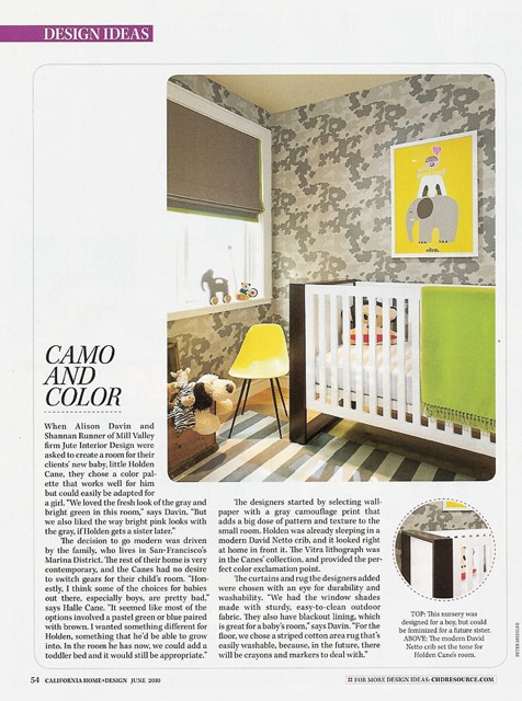 Camo and Color Childrens bedroom Allison Davin of Jute Design