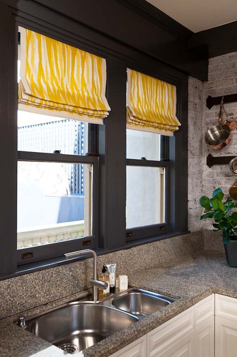 Kitchen Roman Shades by Stitch Custom Furnishings at the 2012 San Francisco Decorator Showcase