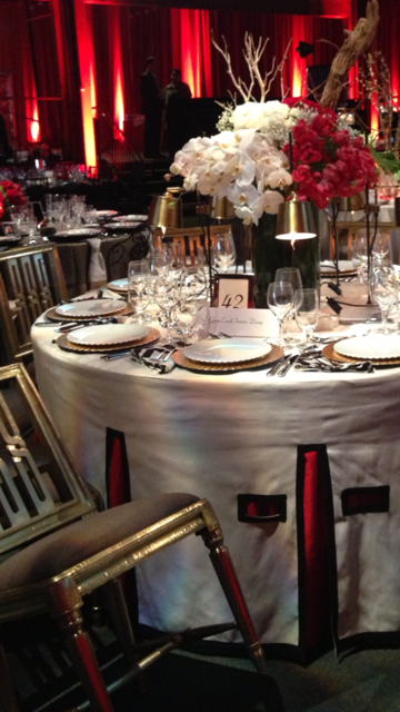 American Red Cross Gala 2013 Features Green Couch Table Setting with Linens by Stitch